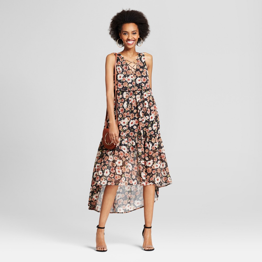 Womens Lace-Up High Low Maxi Dress - Xhilaration (Juniors) Black XL