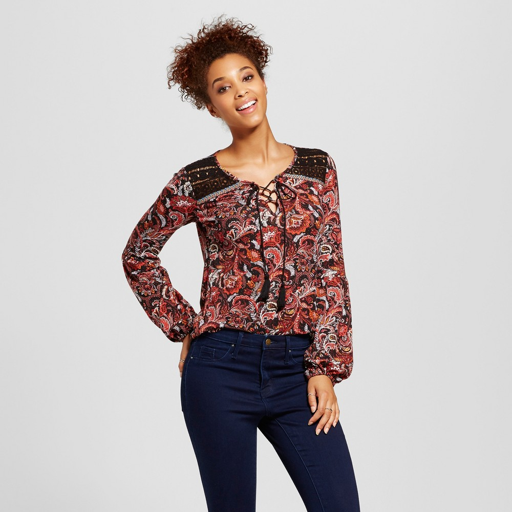 Womens Printed Bishop Sleeve Top - Xhilaration (Juniors) Red S
