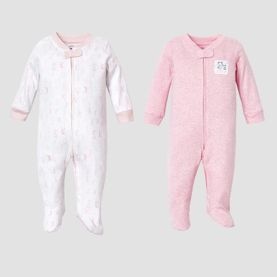 Lamaze Baby Girls' Organic 2pc Sleep N' Play Set - Pink 6M