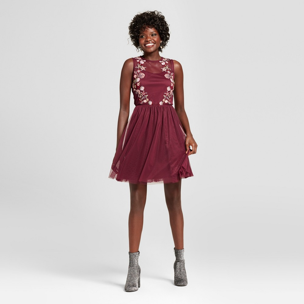 Womens Embroidered Mesh Fit & Flare Dress - Xhilaration (Juniors) Burgundy (Red) S