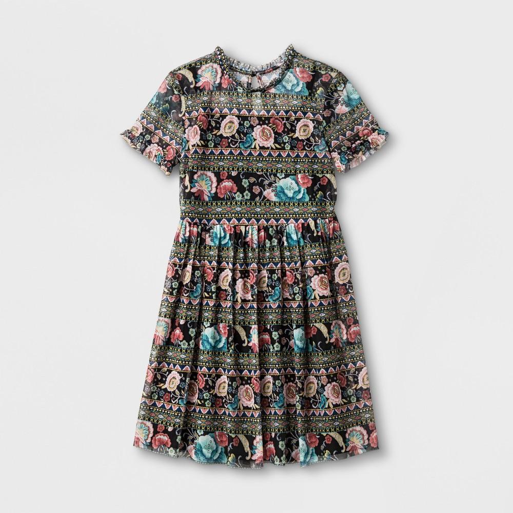 Girls Printed Mesh Dress Art Class - Black/Pink Floral XS