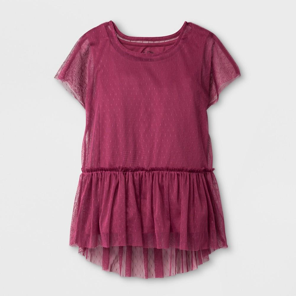 Girls Printed Mesh Blouse Art Class - Dry Rose M, Pink
