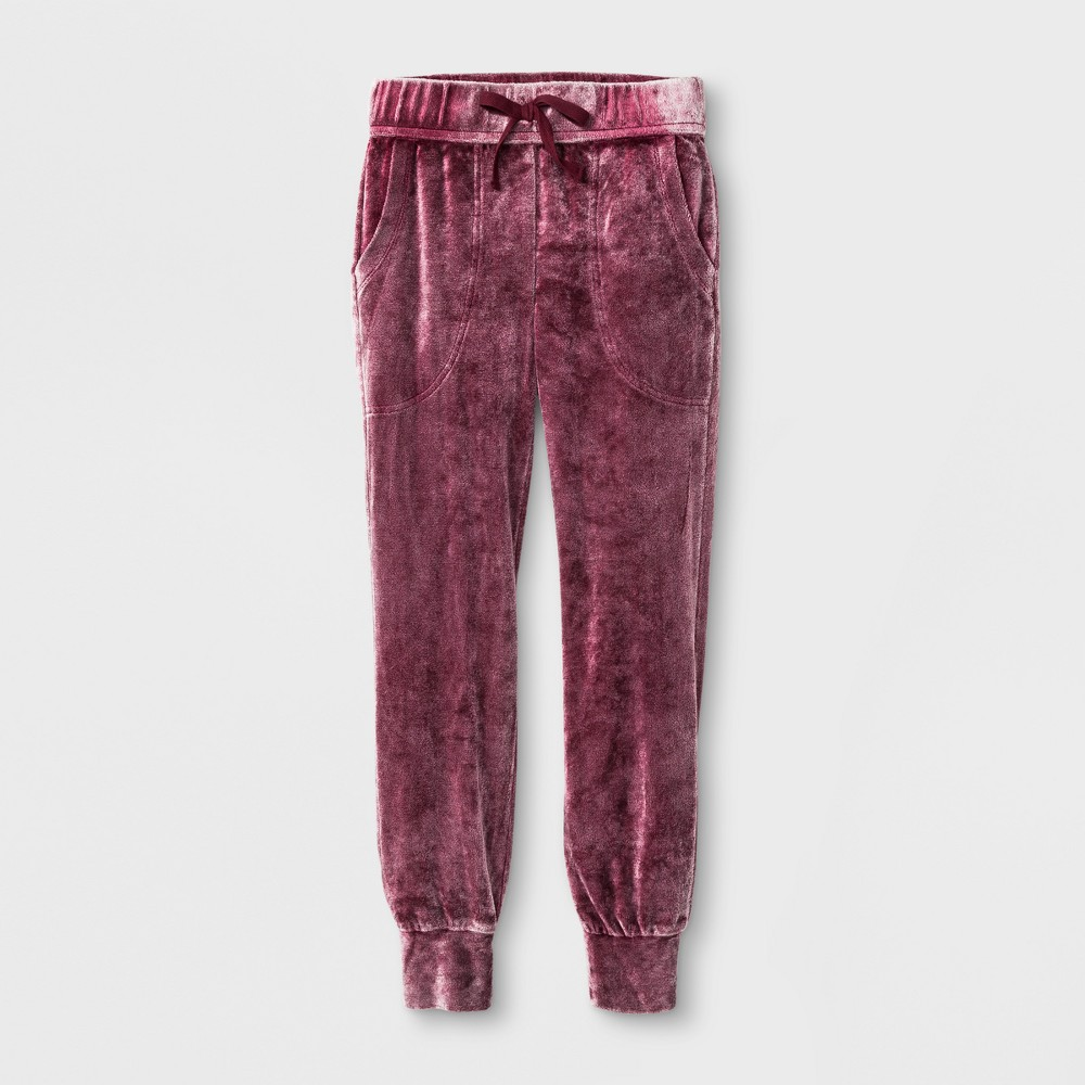 Girls Velvet Jogger Pants - Art Class Rose Taupe L