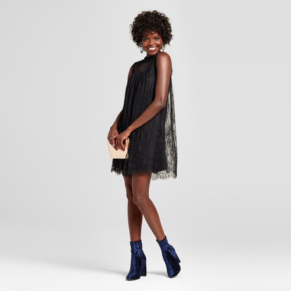 Womens Lace High Neck Shift Dress - Xhilaration (Juniors) Black S
