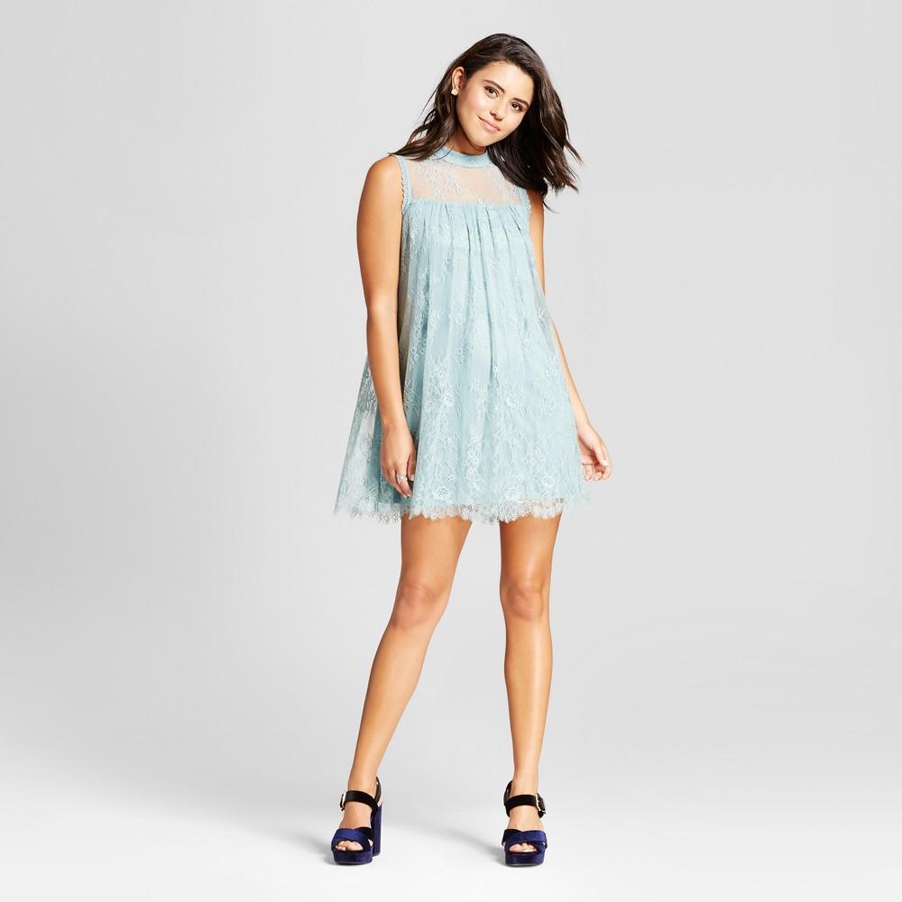 Womens Lace High Neck Shift Dress - Xhilaration (Juniors) Sage XS, Brown