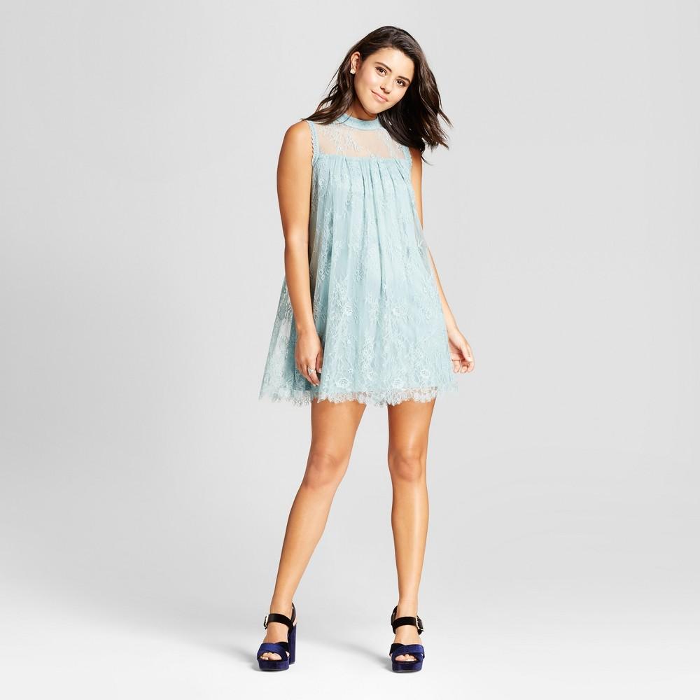 Womens Lace High Neck Shift Dress - Xhilaration (Juniors) Sage S, Brown