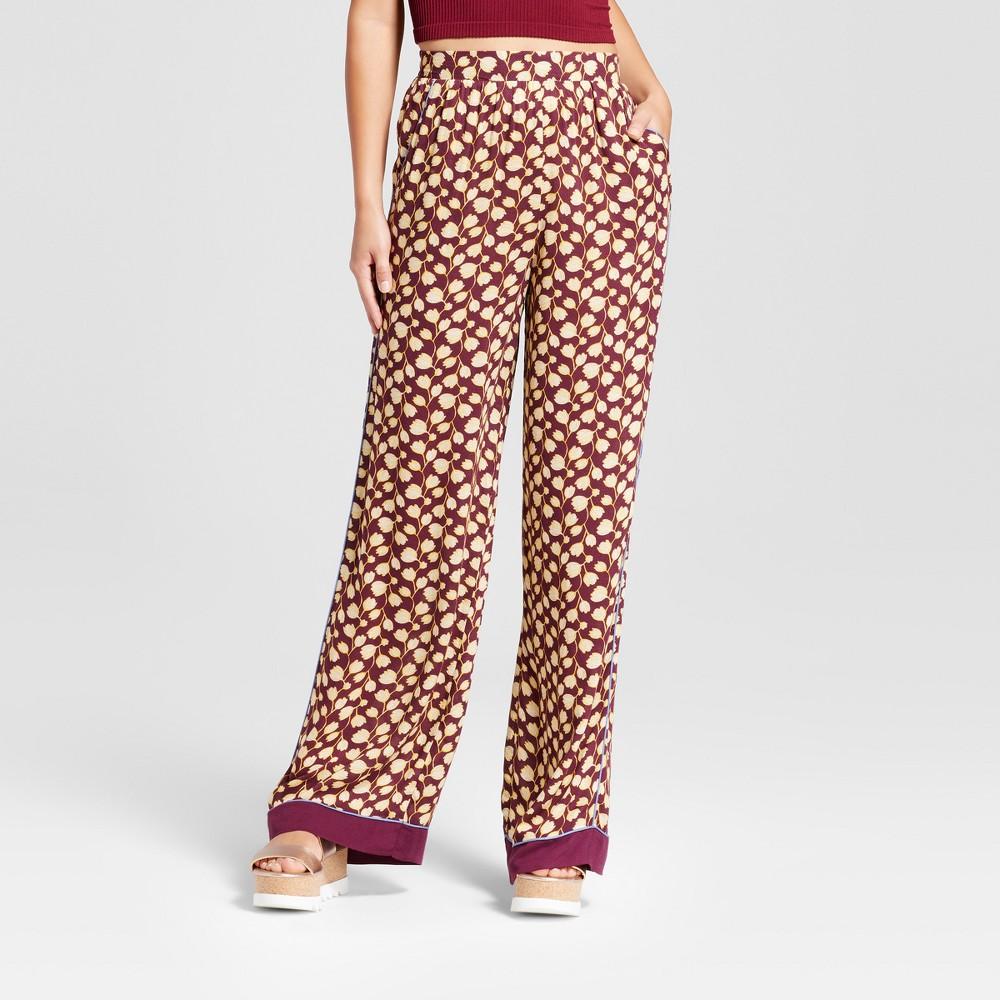 Womens Wide Leg Satin Fashion Pants - Xhilaration (Juniors) Berry XS, Red