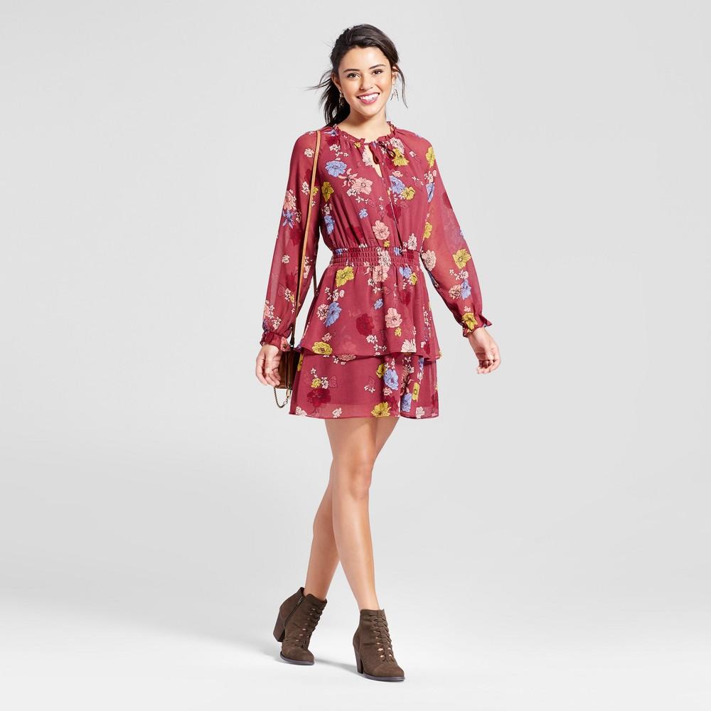 Womens Smocked-Waist Ruffle Dress - Xhilaration (Juniors) Pink L