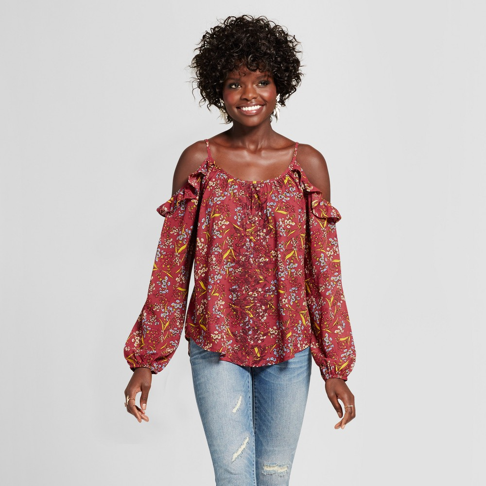 Womens Embroidered Cold Shoulder Top with Ruffles - Xhilaration (Juniors) Berry L, Red
