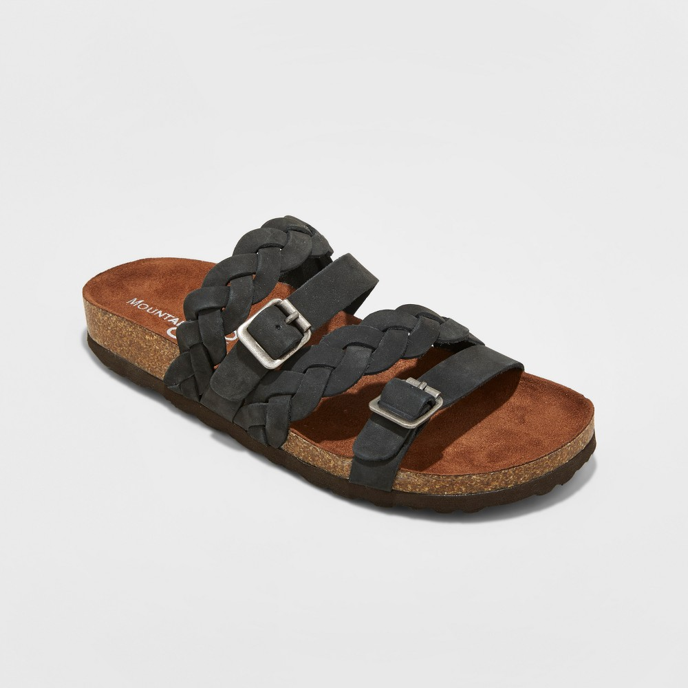 Womens Mountain Sole Hanley Multi Strap Footbed Sandals - Black 11