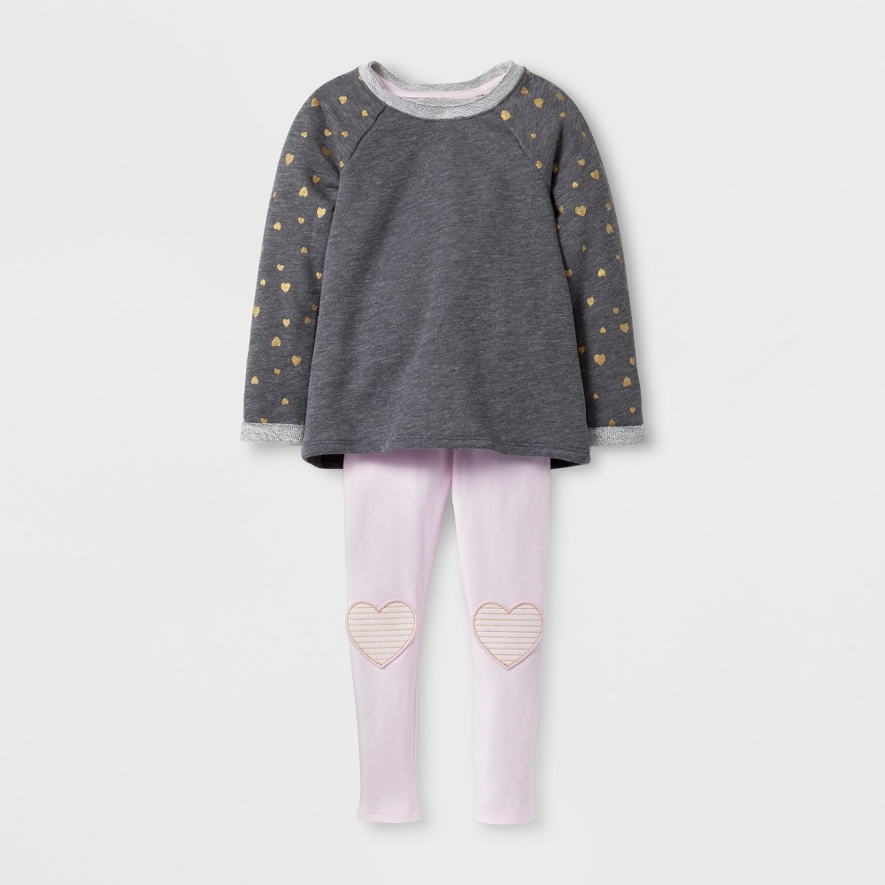 Top And Bottom Sets Cat & Jack Heather Gray 3T, Toddler Girls
