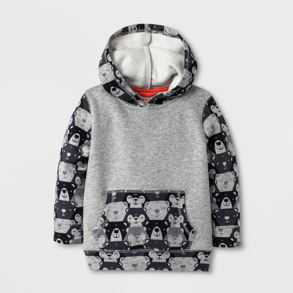 Toddler Boys' Printed Fleece Lined Hoodie - Cat & Jack Heather Gray 18 Months, Size: 18M