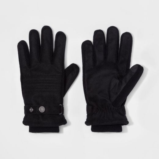 Men's Woolen Thinsulate Lined Polyester Stripe Quilted Woven Glove - Goodfellow & Co™ Black