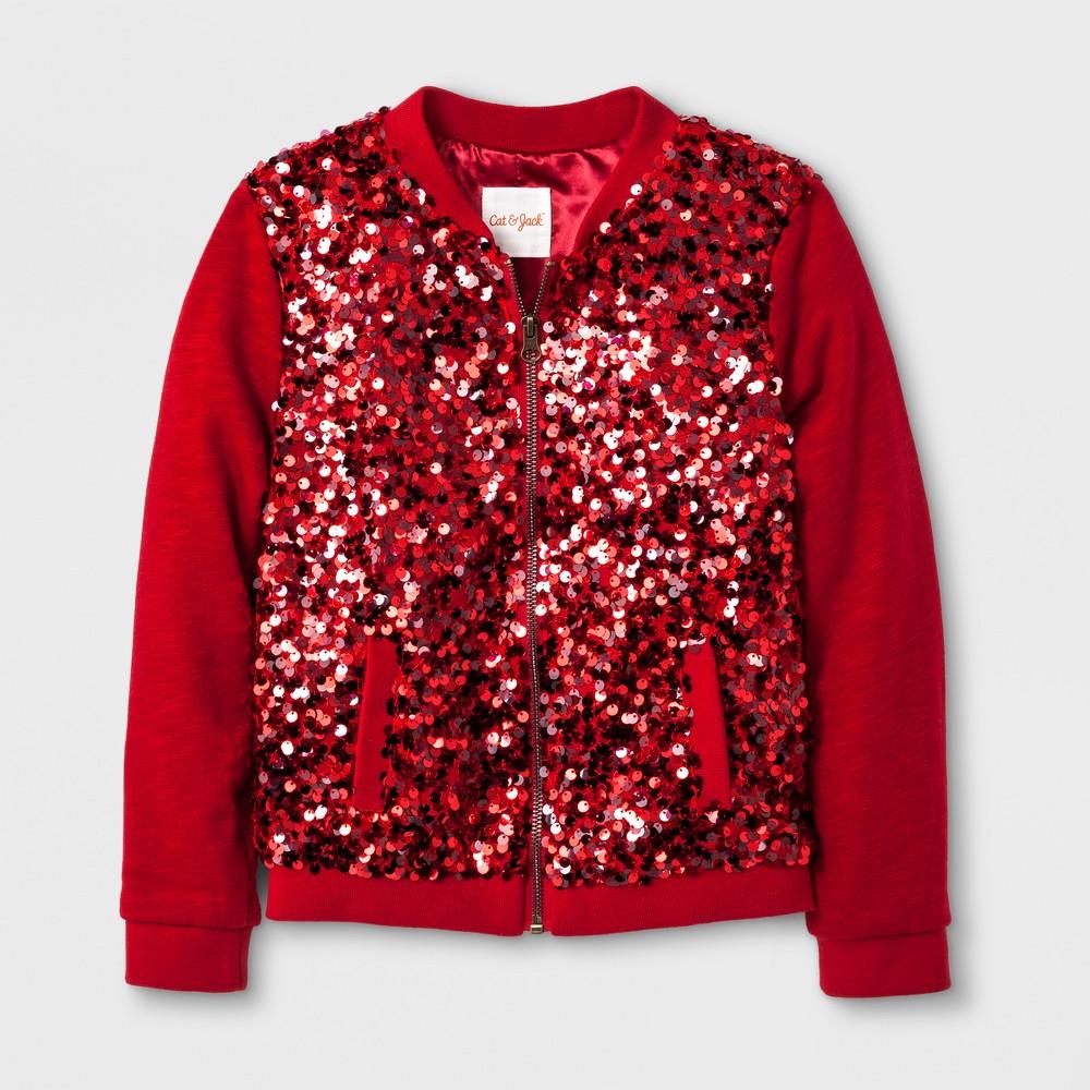 Girls Bomber Sequin Jacket - Cat & Jack Red L