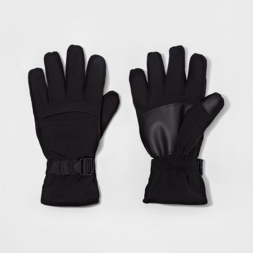 Men's Gusset Windproof Polyester Fabric Ski Glove - Goodfellow & Co™ Black