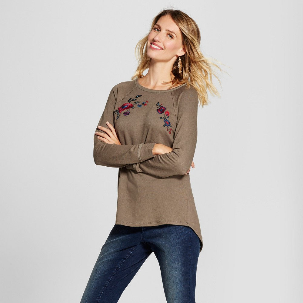 Womens Floral Embroidered Sweatshirt - Knox Rose Olive S, Green