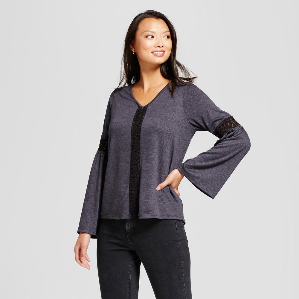 Womens Crochet Bell Sleeve Knit Top - Knox Rose Dark Gray M