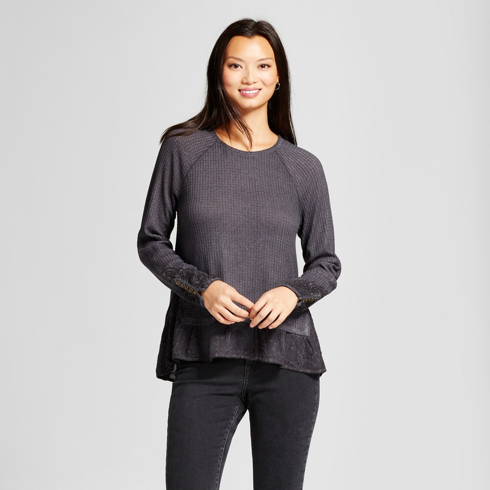 Womens Button Sleeve Thermal Lace Top - Knox Rose Dark Gray M
