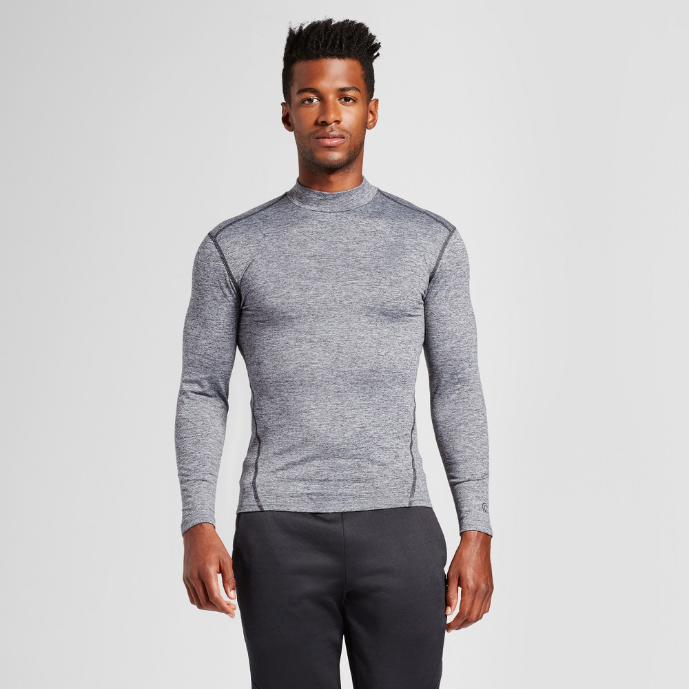 Mens Long Sleeve Mock Neck Compression Shirt - C9 Champion Silver S