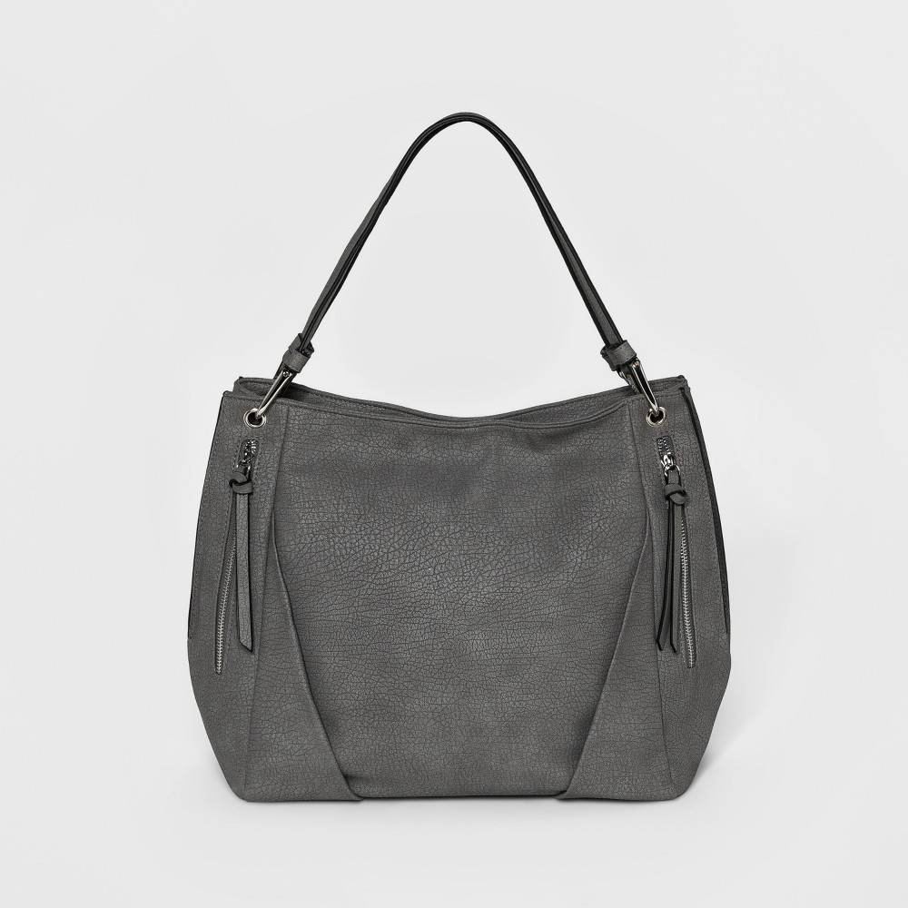 Bueno Womens Grained Pebble Tote Handbag - Gray