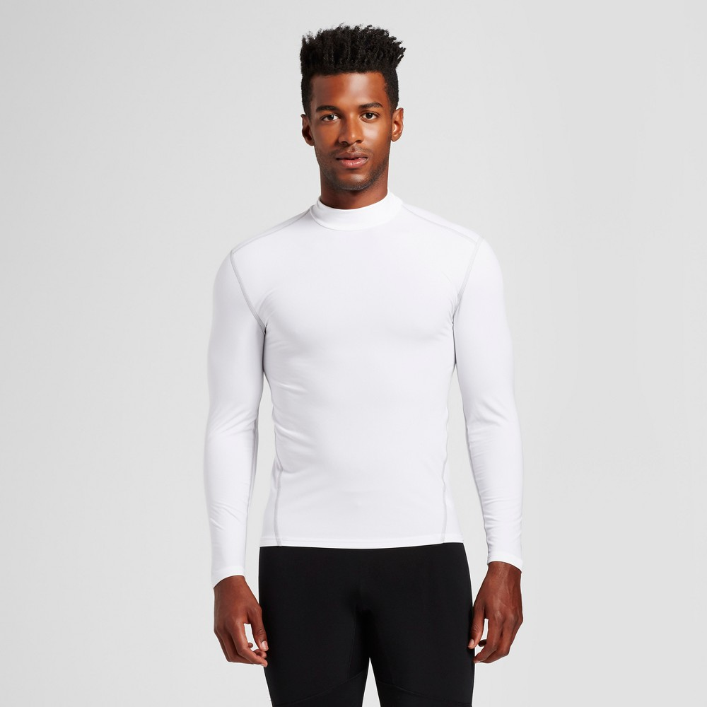 Mens Long Sleeve Mock Neck Compression Shirt - C9 Champion White Xxl