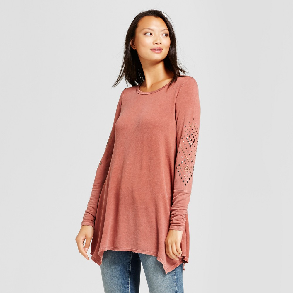 Womens Embellished Sleeve Sharkbite Knit Top - Knox Rose Vintage Rust XL, Red