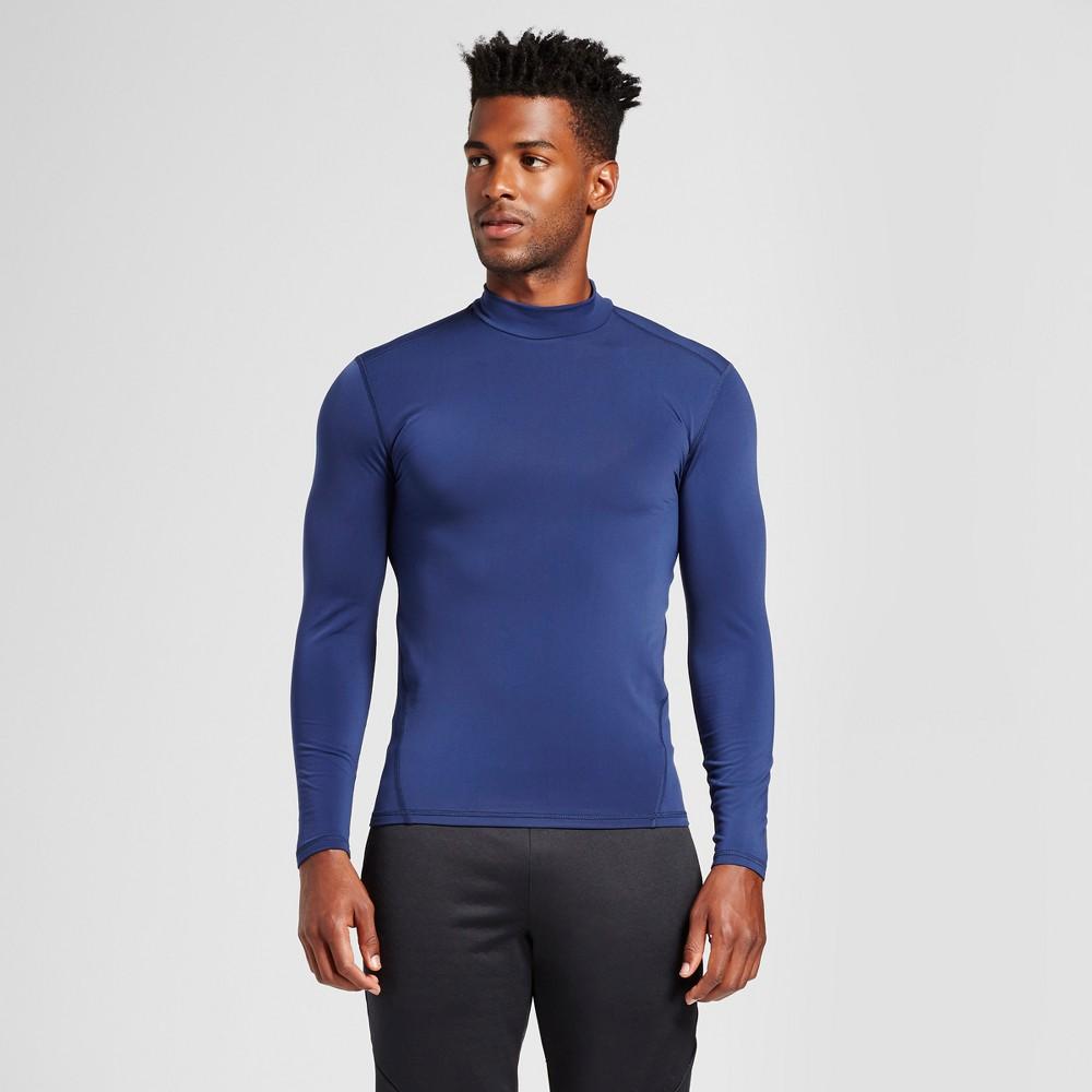 Mens Long Sleeve Mock Neck Compression Shirt - C9 Champion Dark Night Blue XL