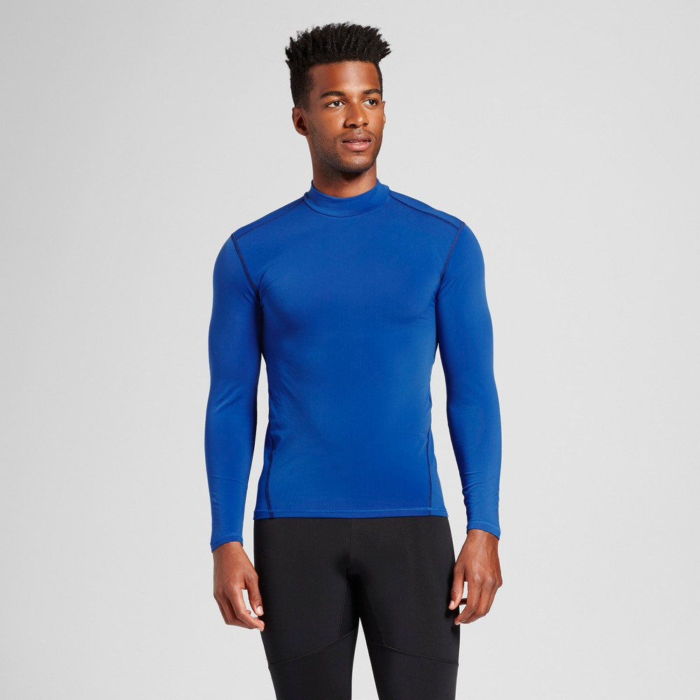 Mens Long Sleeve Mock Neck Compression Shirt - C9 Champion Bright Blue L