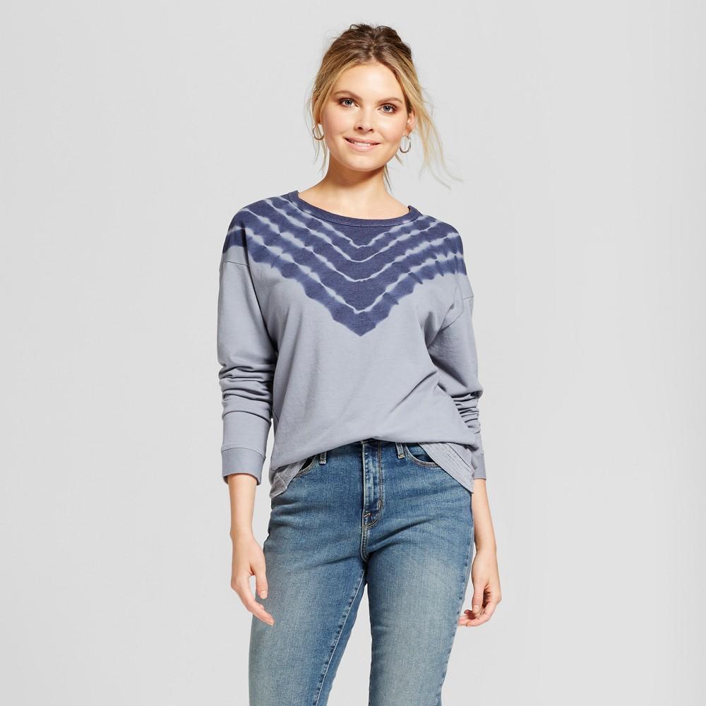 Womens Tie Dye Sweatshirt - Knox Rose Slate Blue L