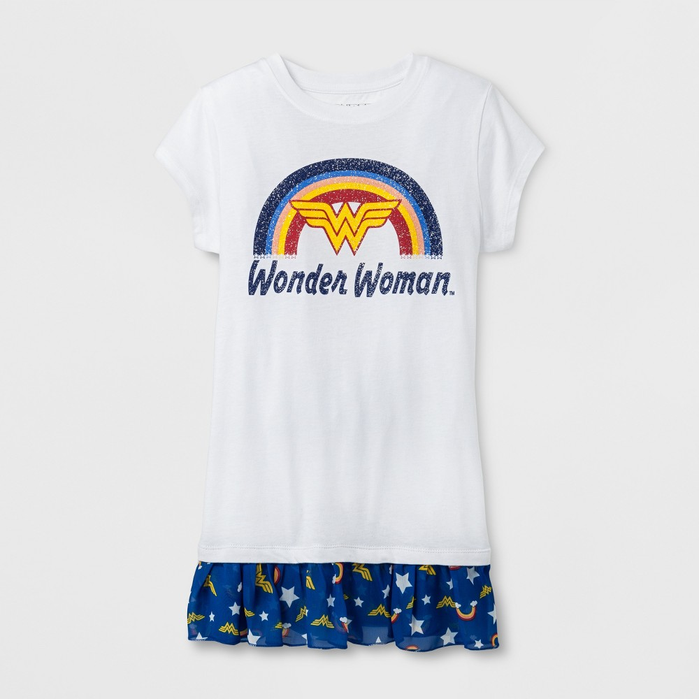 Girls Wonder Woman Short Sleeve T-Shirt - White - M