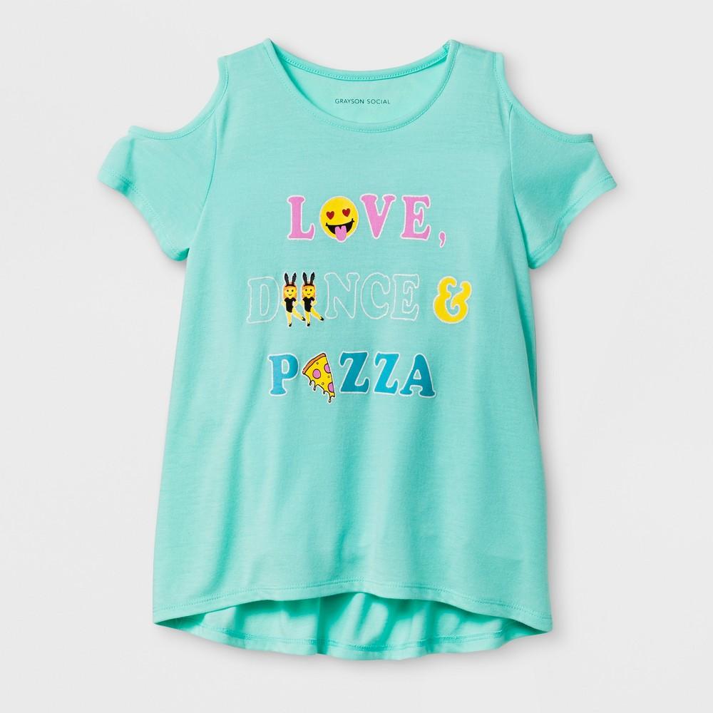 Girls Love Dance Pizza Short Sleeve T-Shirt - Blue XS