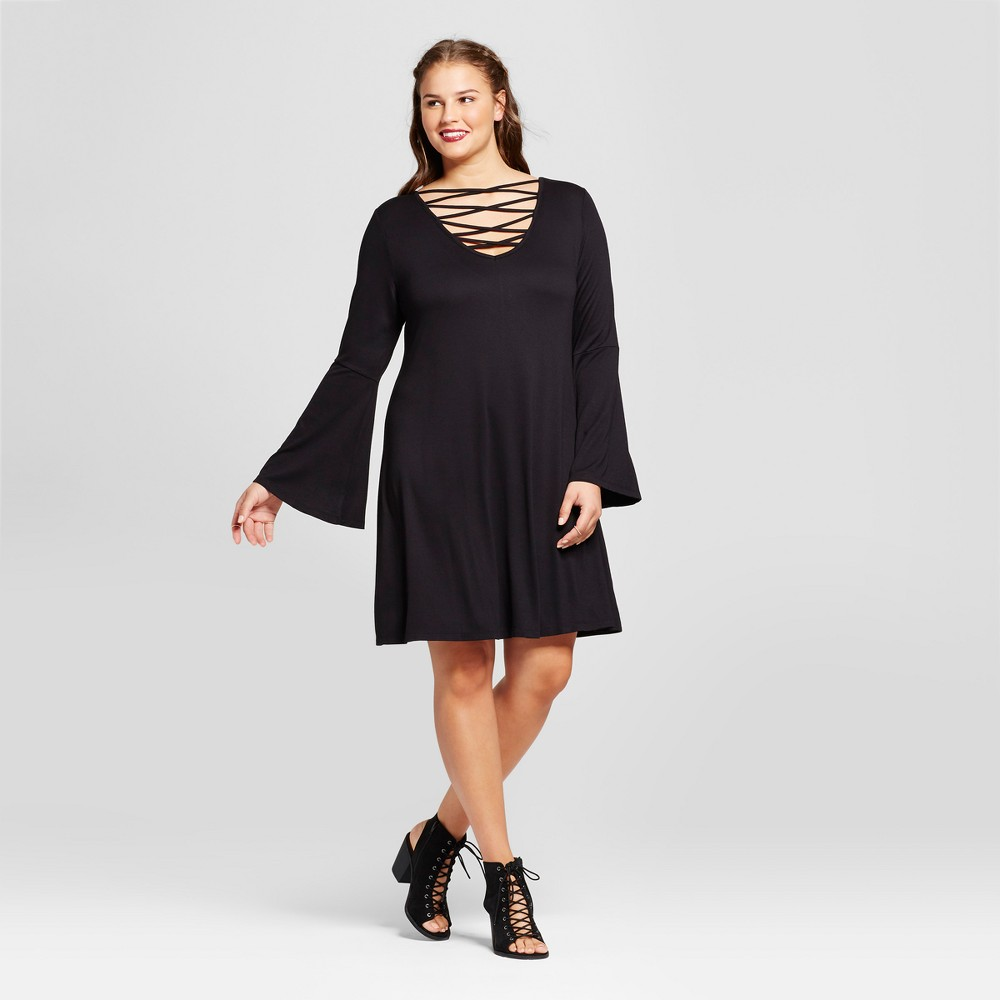 Womens Plus Size Bell-Sleeve Swing Dress - No Comment - Black 3X