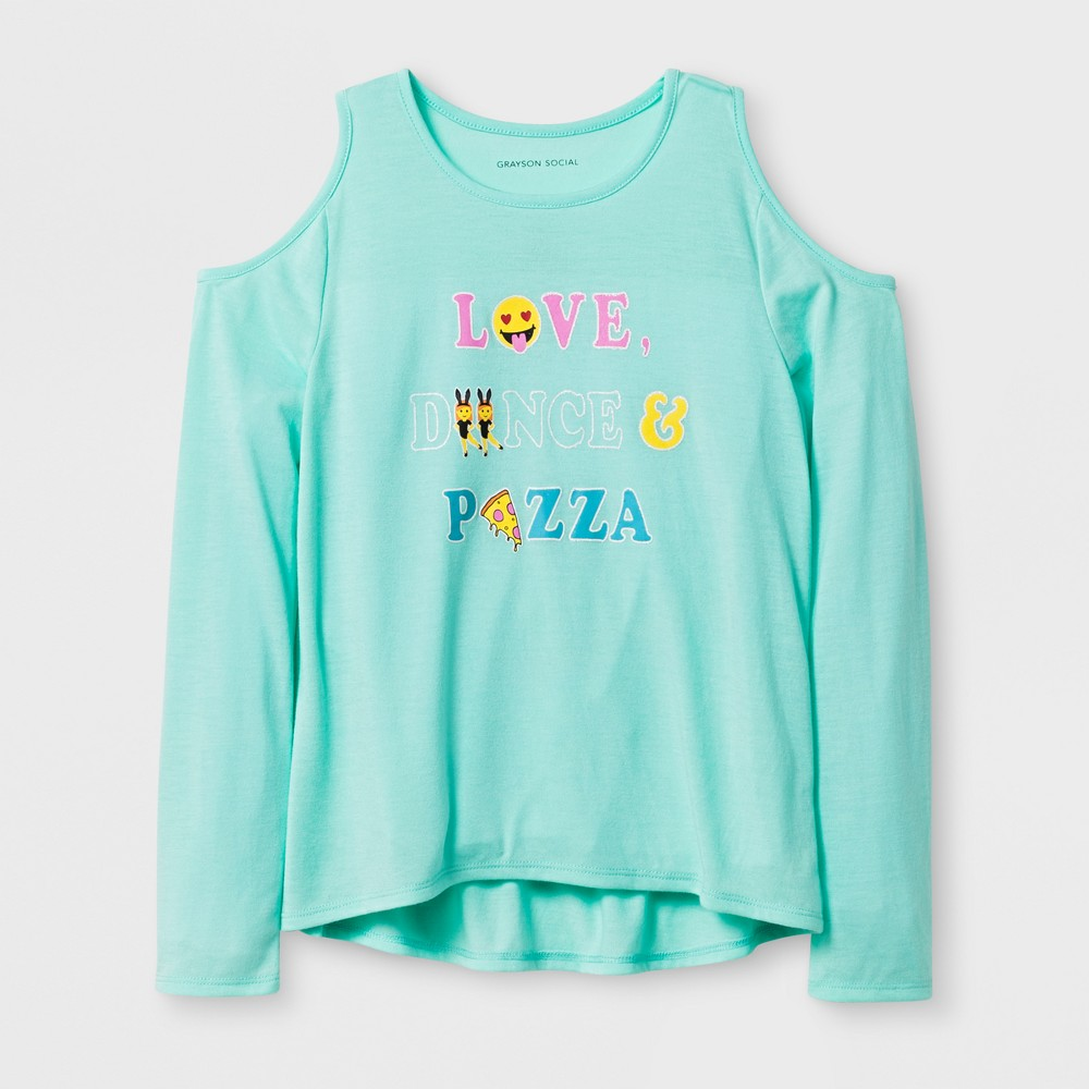 Girls Love Dance Pizza Long Sleeve T-Shirt - Blue XL