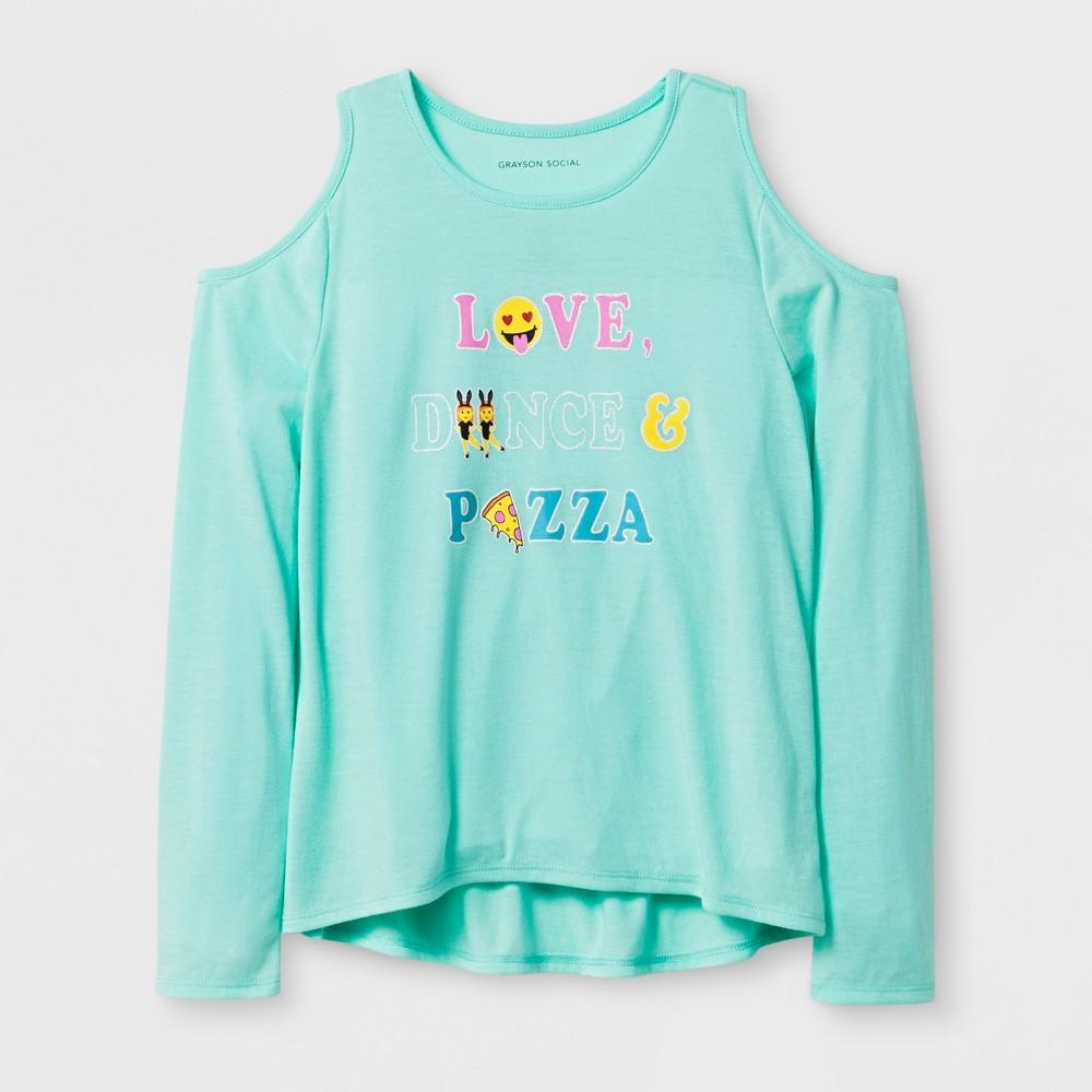 Girls Love Dance Pizza Long Sleeve T-Shirt - Blue M