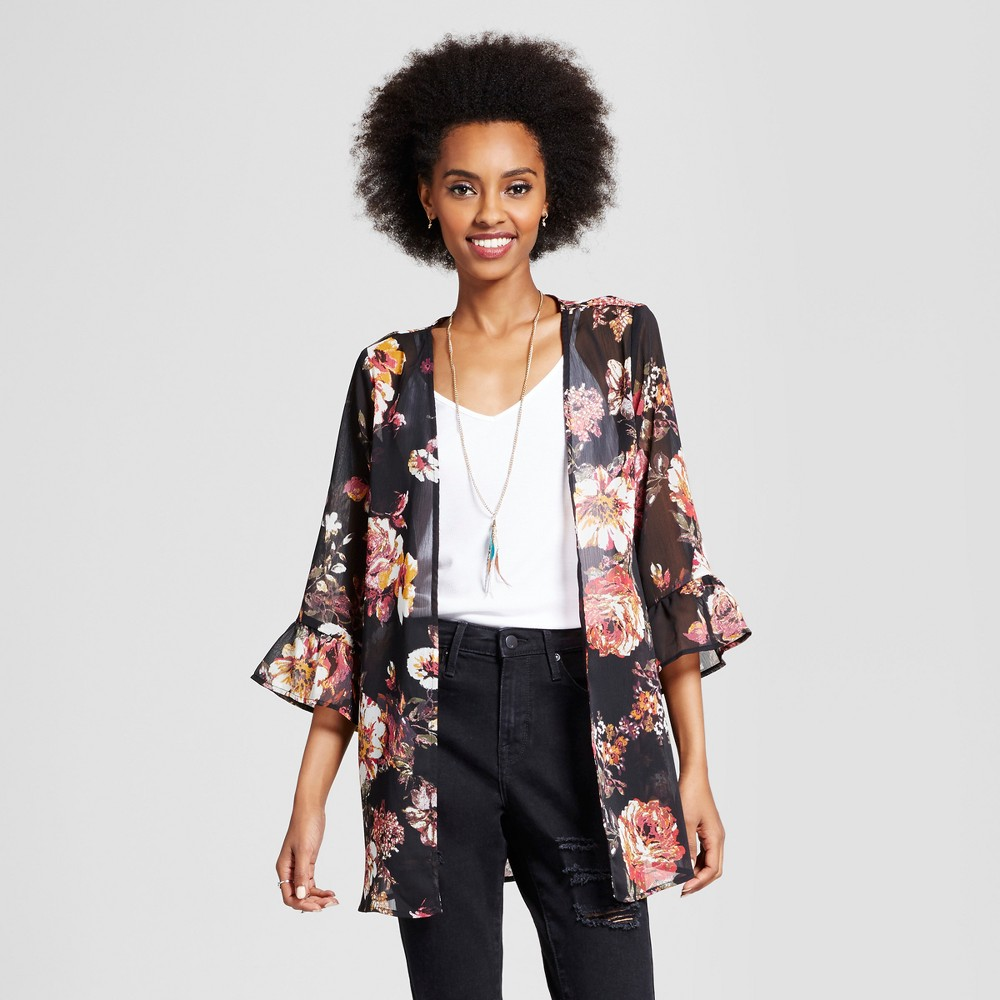 Womens Ruffle Kimono - Xhilaration (Juniors) Black M