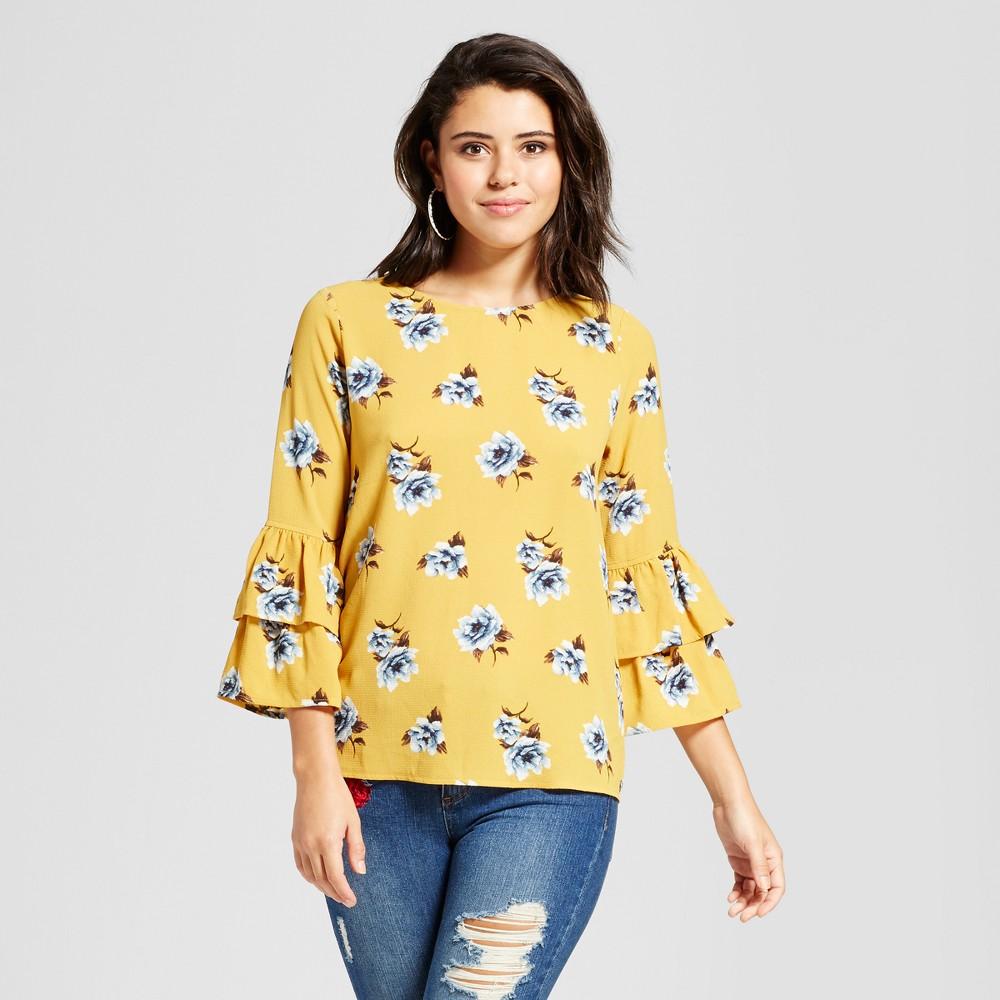Womens Bell-Sleeve Woven Top - Xhilaration (Juniors) Mustard (Yellow) L