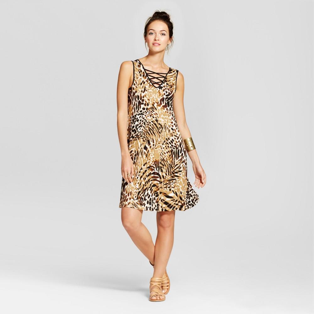 Womens Double V-Neck Tank Dress with Lattice Detail - Spenser Jeremy - Tan Combo XL, Orange