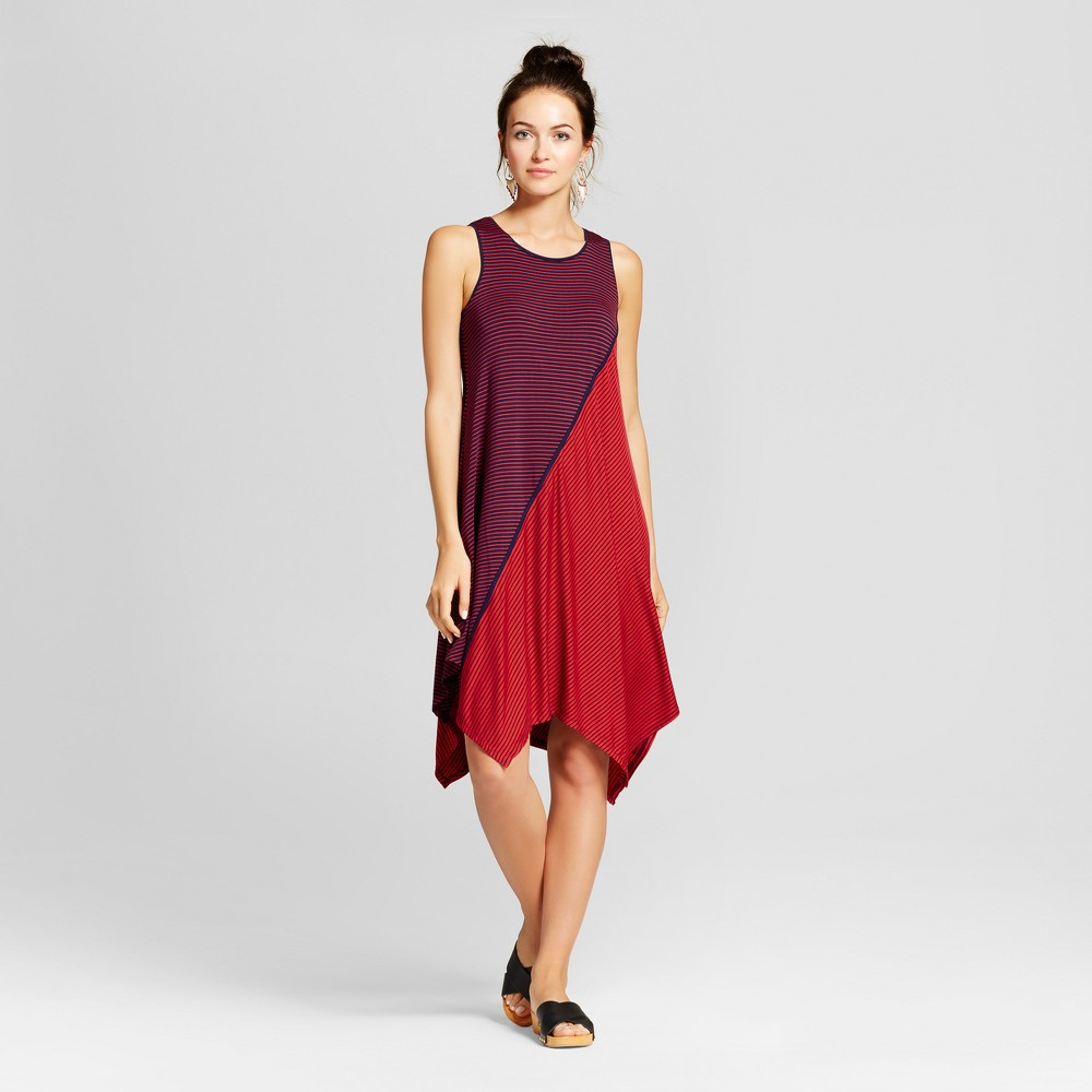 Womens Mixed Stripe Asymmetrical Tank Dress - Spenser Jeremy - Navy/Red L, Blue Red