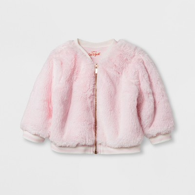 Baby Girls' Faux Fur Jacket - Cat & Jack™ Pink 6-9 M