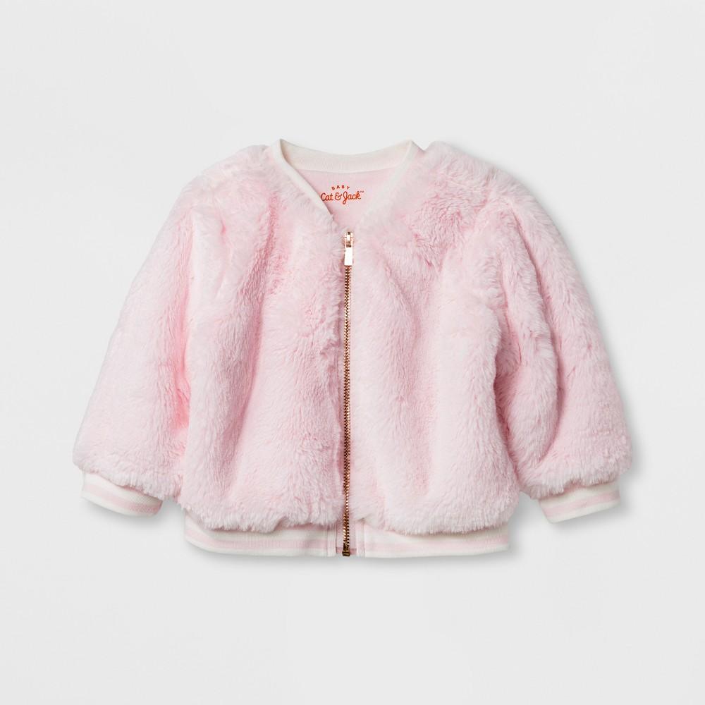 Baby Girls Faux Fur Jacket - Cat & Jack Pink 6-9 M
