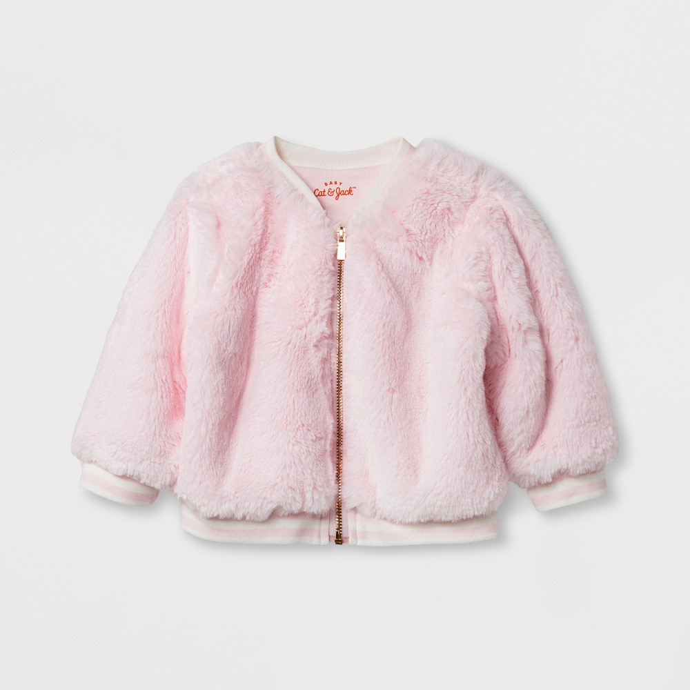 Baby Girls Faux Fur Jacket - Cat & Jack Pink 18 M