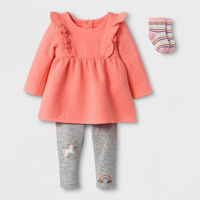 Baby Girls' 3pc Tunic, Leggings, and Sock Set - Cat & Jack™ Peach/Gray NB