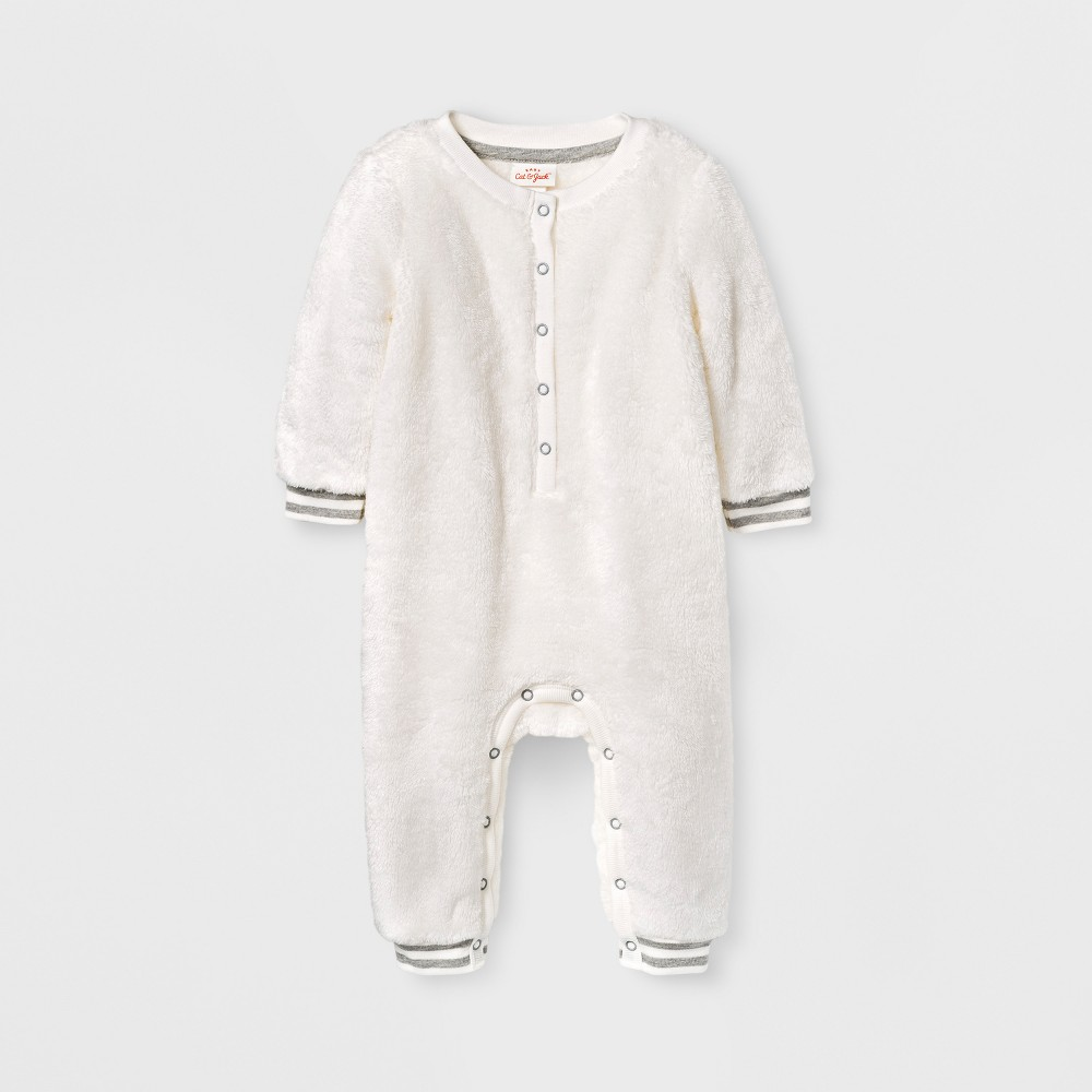 Baby Girls Fuzzy Romper - Cat & Jack Cream 24 M, White