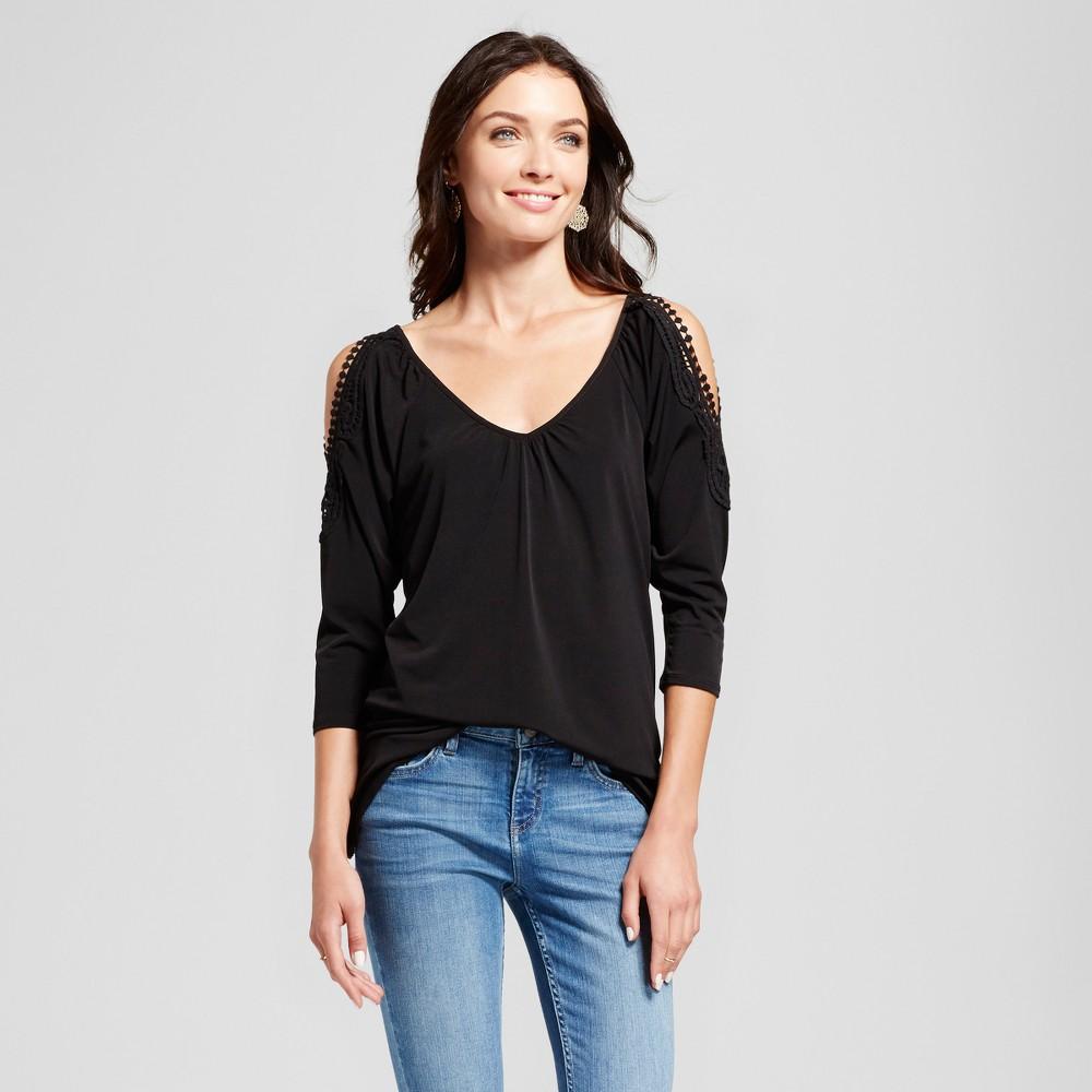 Womens Crochet Cold Shoulder Knit Blouse - Notations Black L