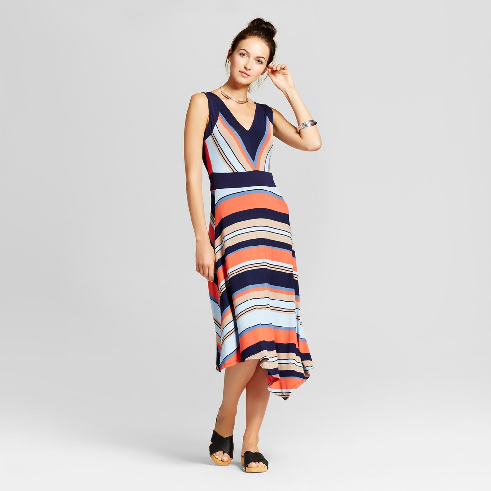Womens Striped Asymmetrical Tank Dress - Spenser Jeremy - Navy Combo L, Blue Orange