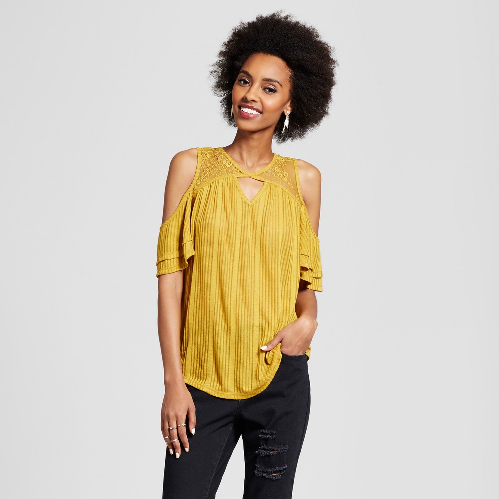 Womens Cold Shoulder T-Shirt - Xhilaration (Juniors) Citrus M, Yellow