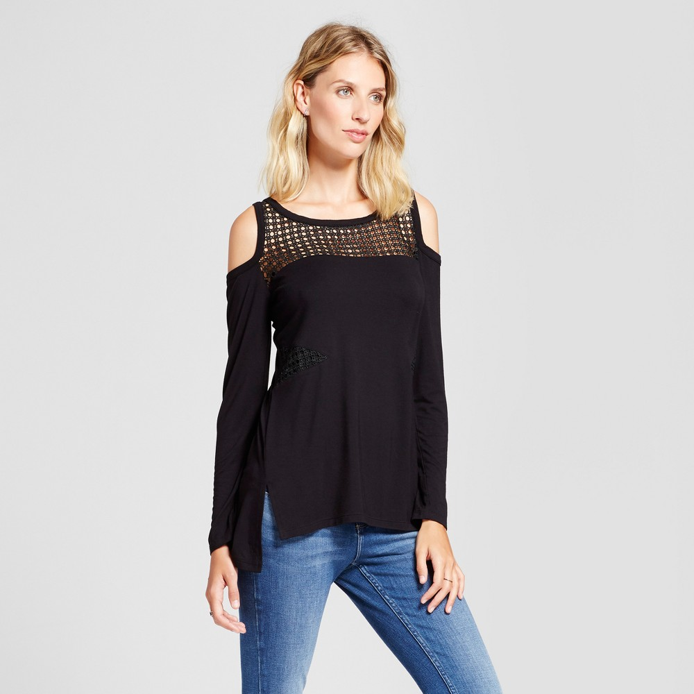 Womens Mixed Media Cold Shoulder Long sleeve Top - Simply by Love Scarlett Black L