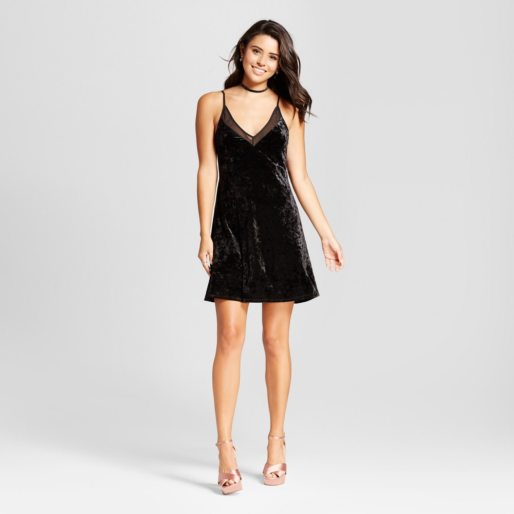 Womens Crushed Velvet Slip Dress - Xhilaration (Juniors) Black M