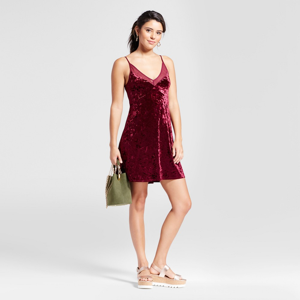Womens Crushed Velvet Slip Dress - Xhilaration (Juniors) Burgundy (Red) L