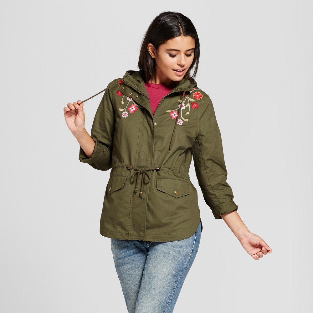 Womens Embroidered Anorak - Xhilaration (Juniors) Olive XS, Green